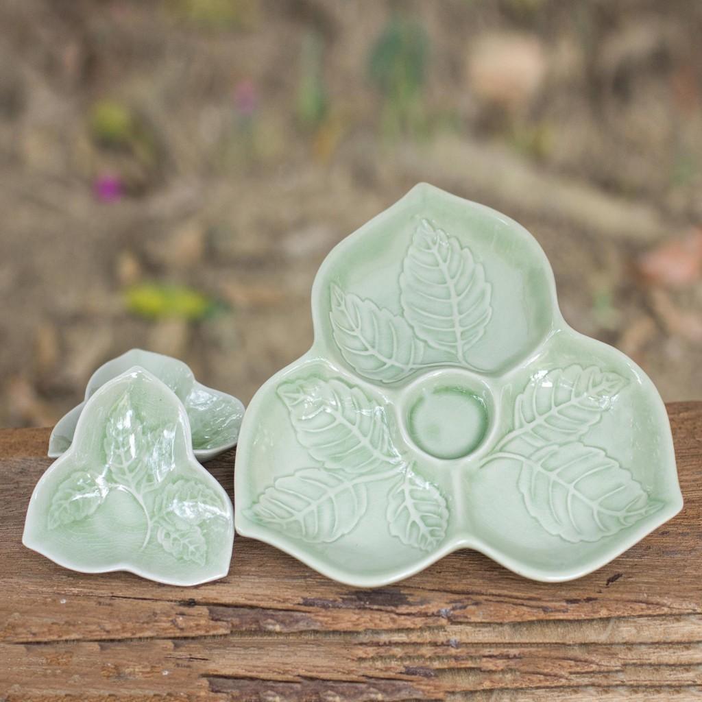 Unique Celadon Ceramic Plates Living Leaf Handmade Art NOVICA Thailand Fair Trade NOVICA