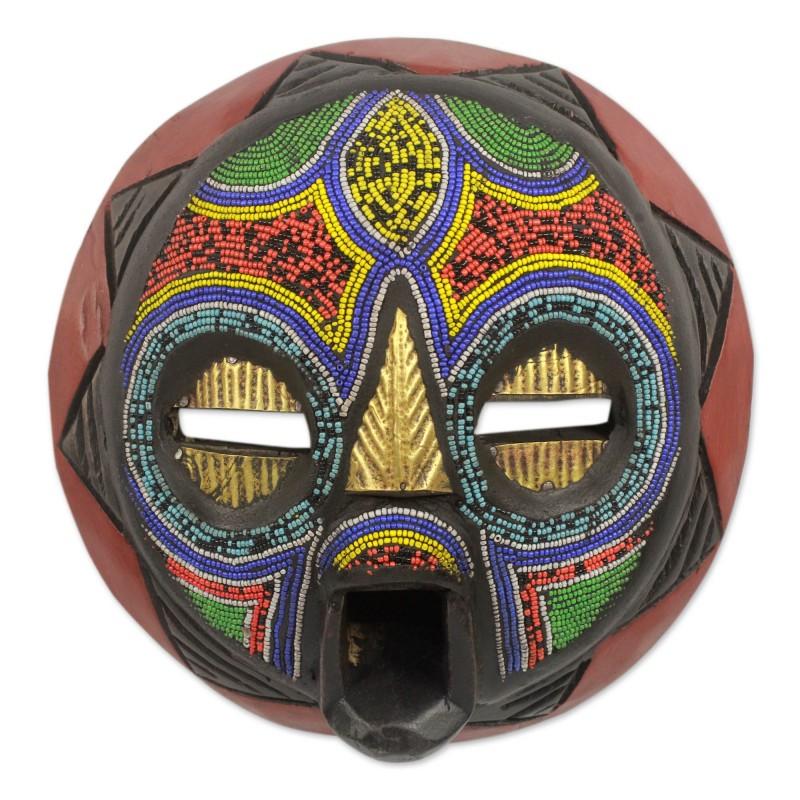 Hand Beaded Nigerian Wood Mask, 'My Beautiful Woman' NOVICA Fair trade wall art
