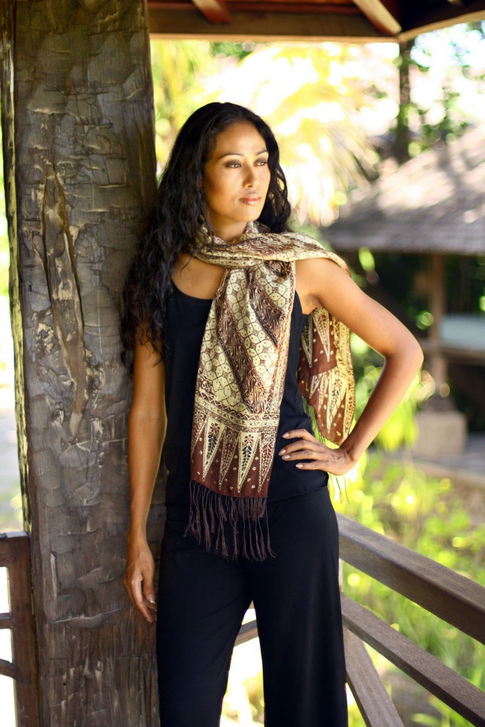Handmade Silk Batik Scarf, 'Harmony' by Yuni Kristina / NOVICA