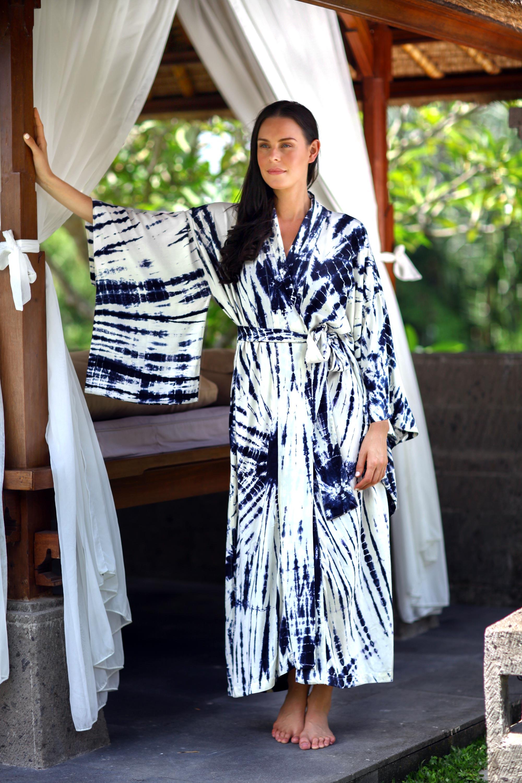 Women's Kimono Style Tie-dye Robe on Blue and White, 'High Energy' NOVICA Fair Trade