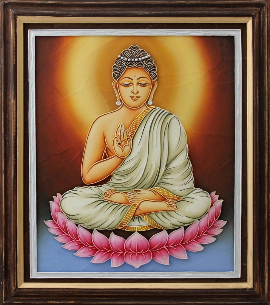 India Framed Marble Dust Relief Panel Buddha Portrait, 'Buddha's Peaceful Allure' Wall Art