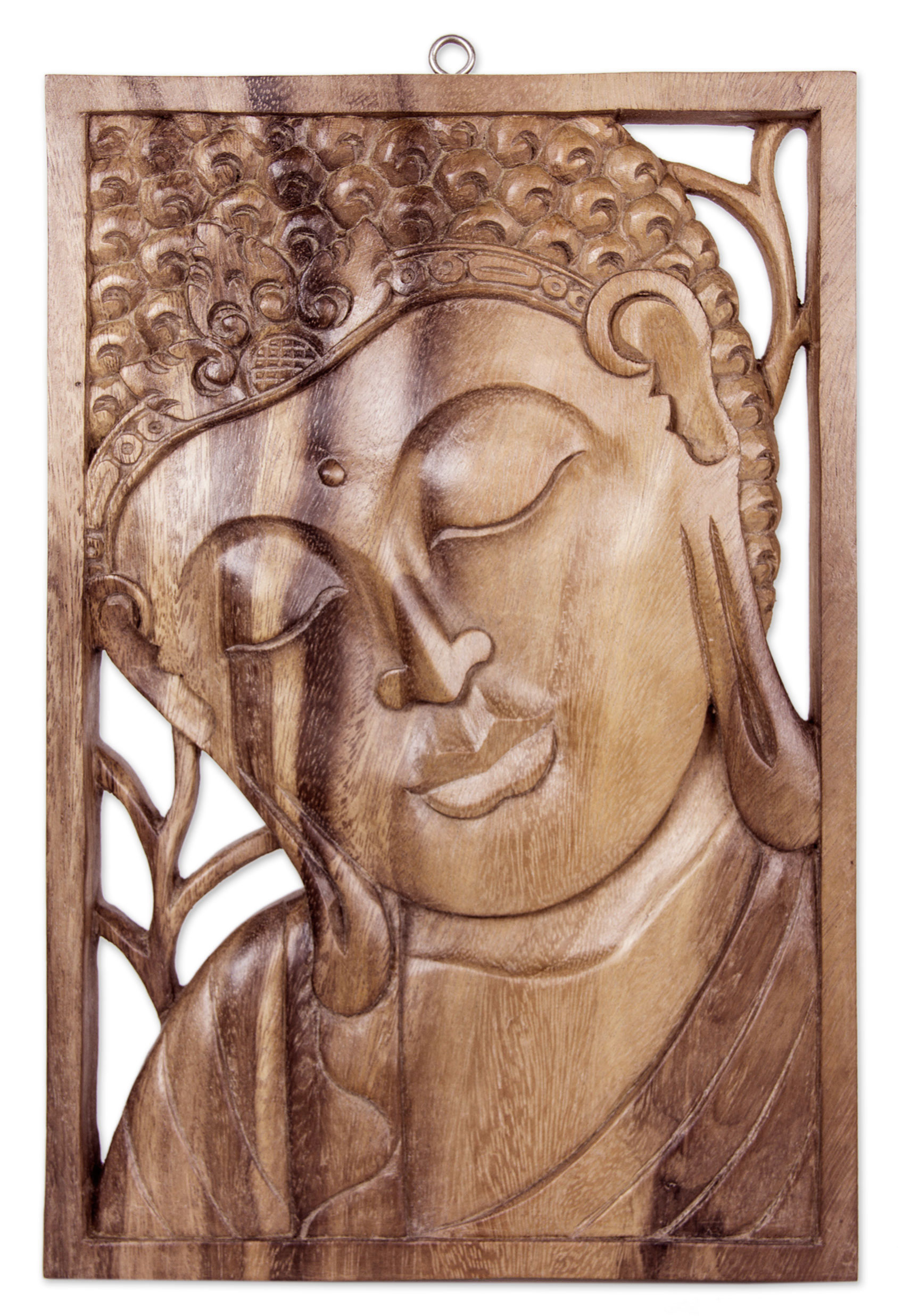 Buddha Portrait Balinese Relief Panel, 'Young Buddha' Hand Carved Wood Wall Art NOVICA Fair Trade