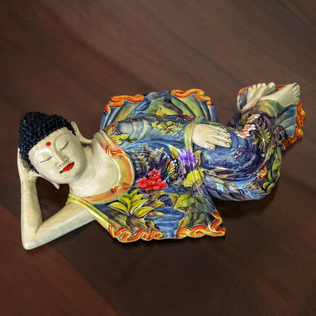 Balinese Hand Crafted Signed Wood Sculpture of Buddha, 'Sleeping Balinese Buddha' Fair Trade NOVICA Collectible Figurine Art
