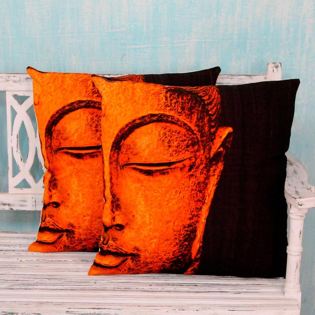 Buddha Theme Cotton Cushion Cover Pair in Orange and Black, 'Bright Buddha' Home Decor Art Pillows NOVICA Fair Trade