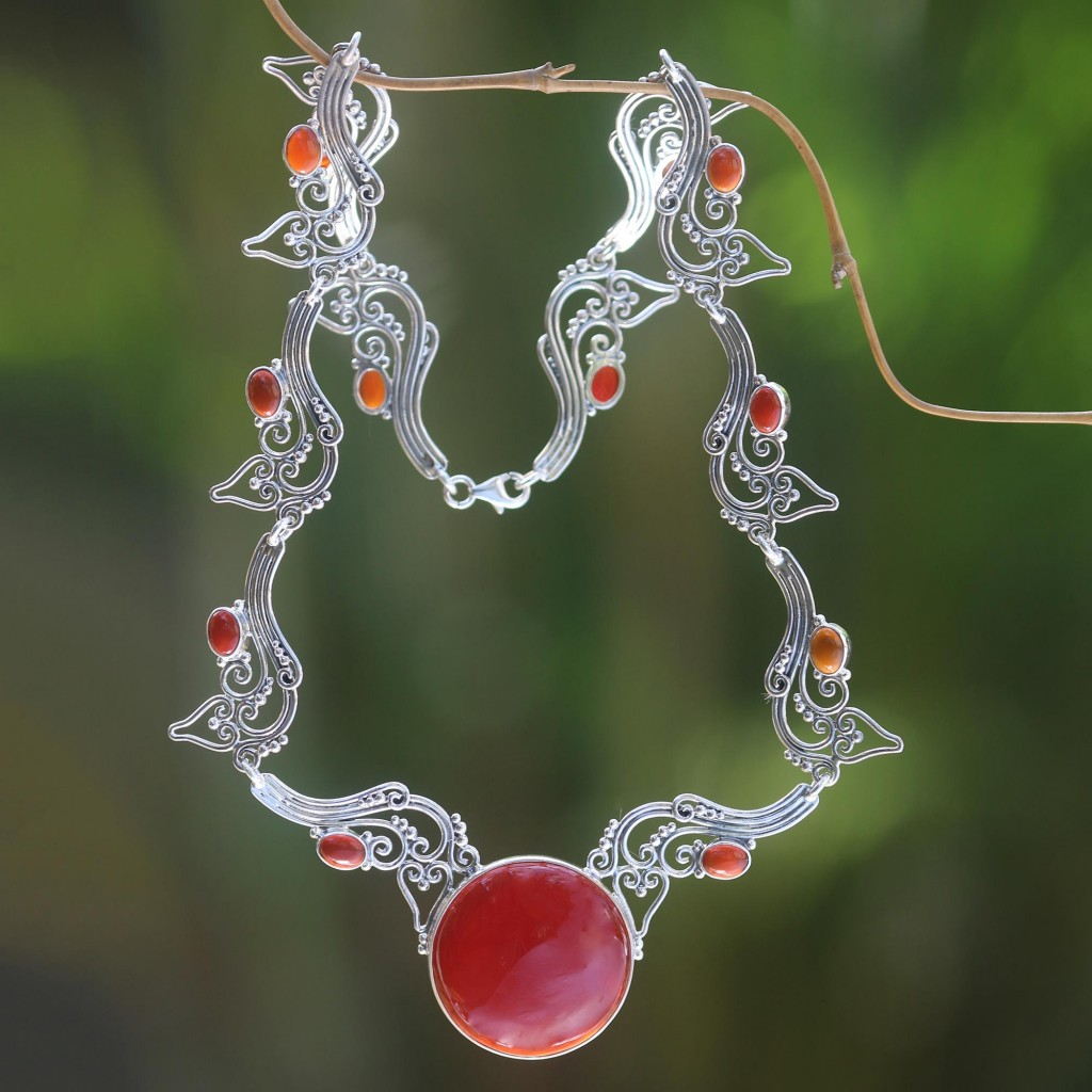 Carnelian pendant necklace, 'Majapahit Empress' sterling silver NOVICA Fair Trade