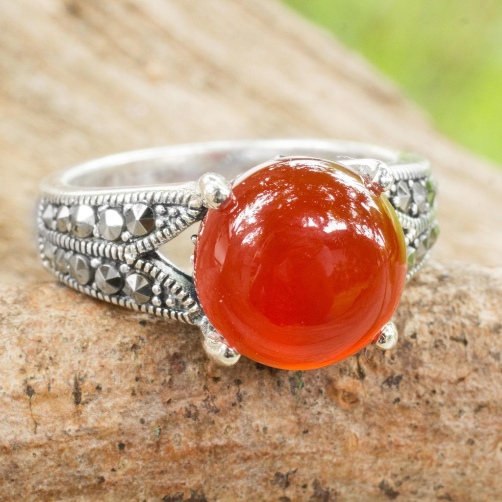 Carnelian single stone ring, 'Marigold' sterling silver marcasite NOVICA Fair Trade
