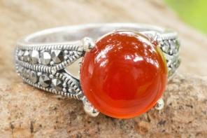 Carnelian single stone ring, 'Marigold'