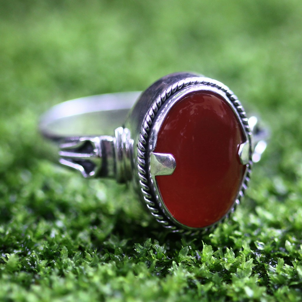 Men's Carnelian Ring combination finish sterling silver NOVICA Fair Trade Jewelry