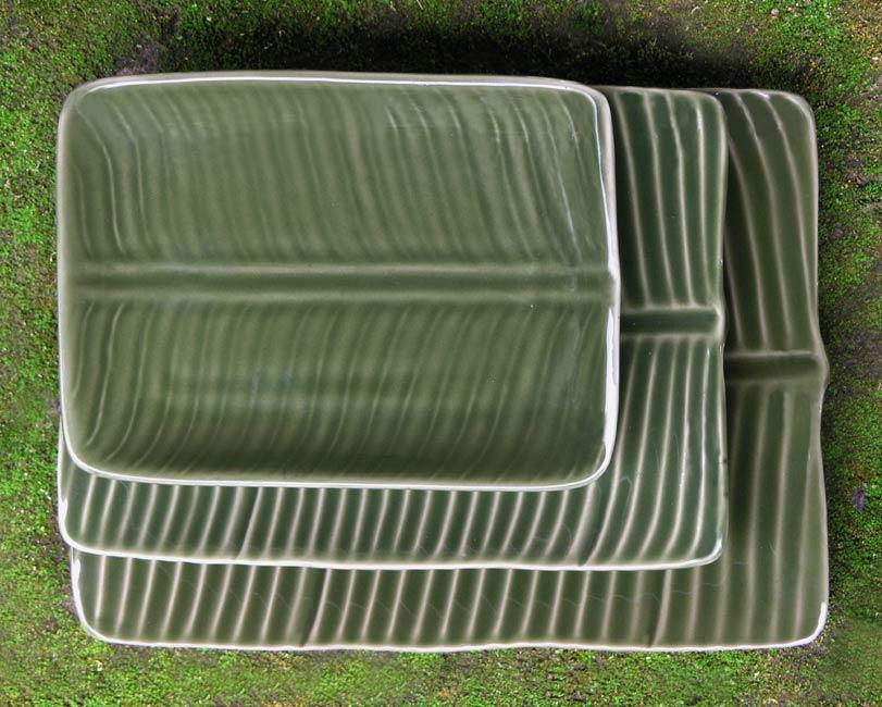 ceramic plates NOVICA platter service green leaves