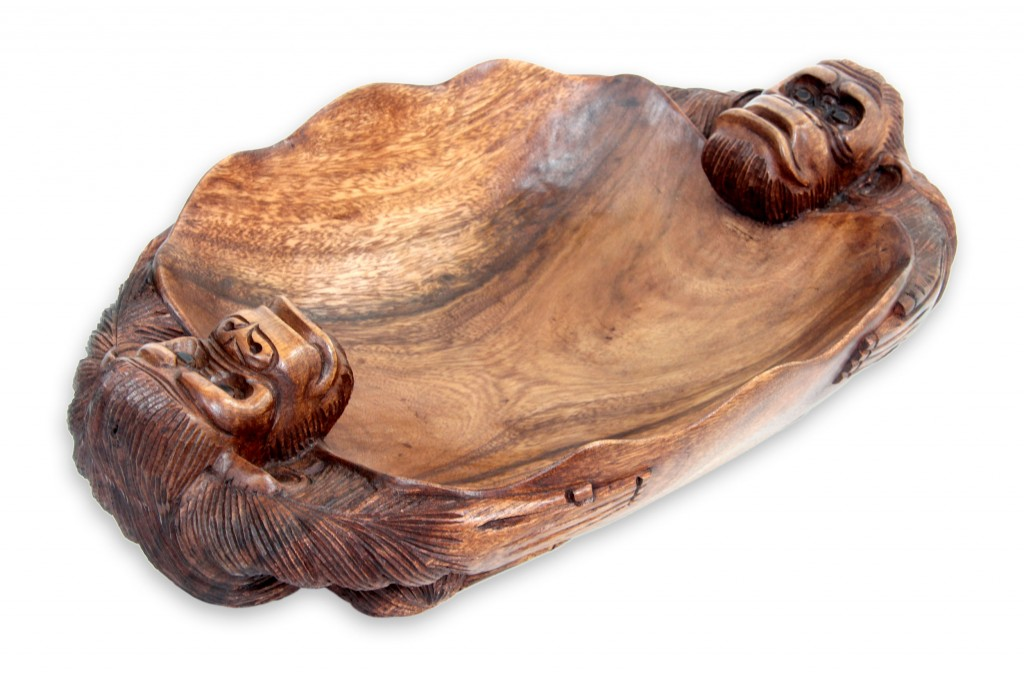 Hand Carved Balinese Chimpanzee Theme Catchall Bowl, 'Twin Chimps'