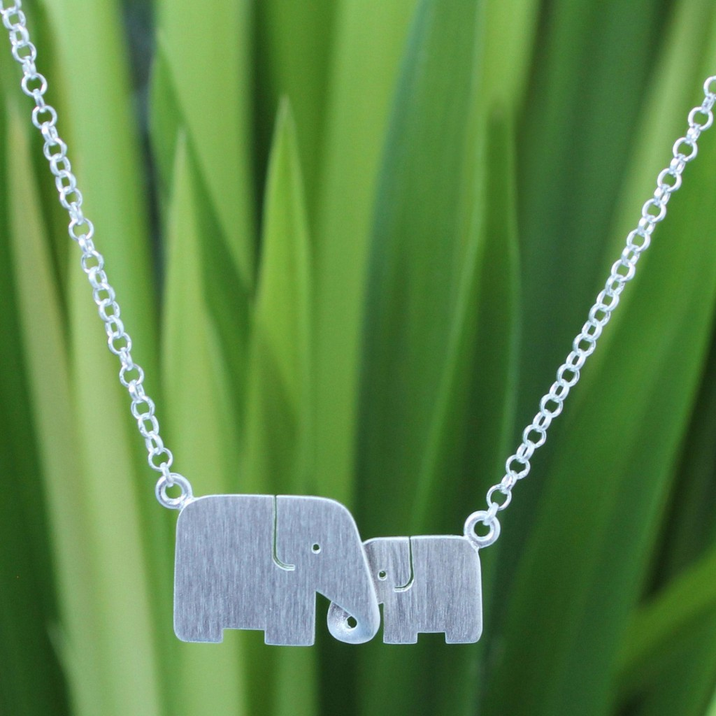 Hand Crafted Silver Elephant Pendant Necklace, 'Family Love'