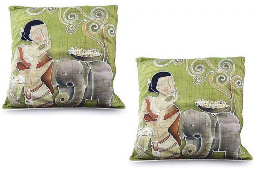 Fair Trade Batik Cotton Cushion Covers (Pair), 'Flowery Day'