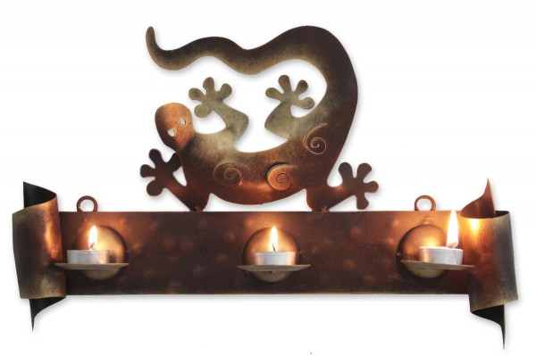 Handcrafted Steel Lizard Wall Sconce Candleholder, 'Happy Gecko'
