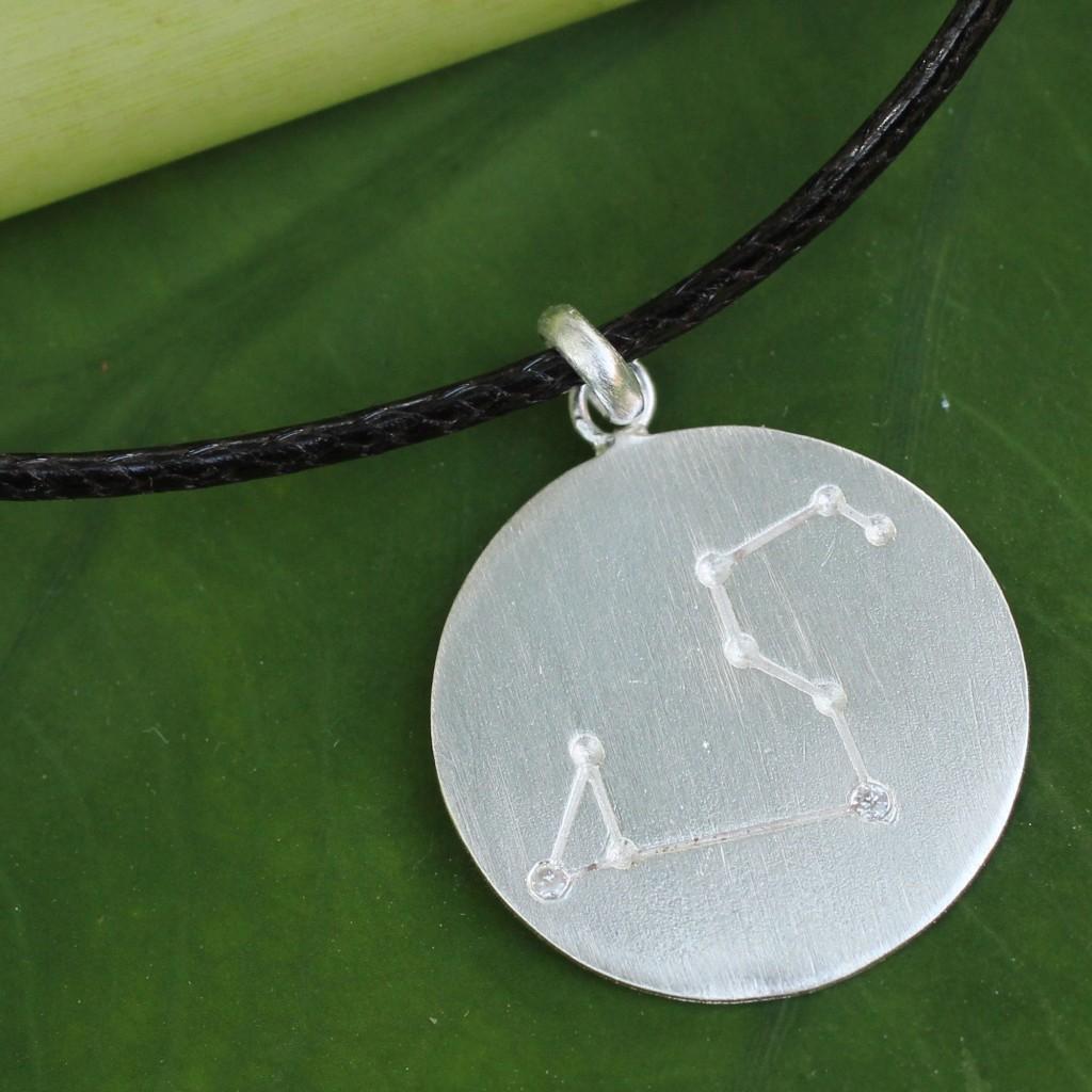 Leo Constellation Pendant Sterling Silver White Topaz Cord
