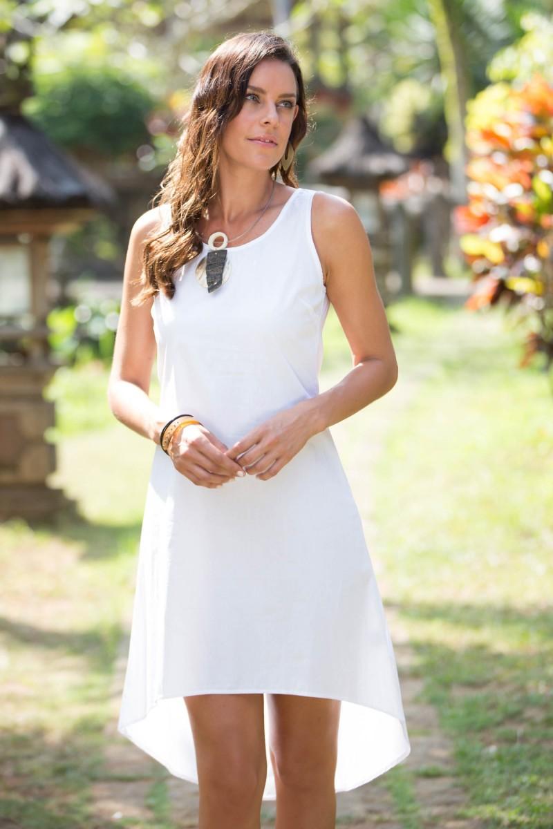 Artisan Crafted Cotton Hi-Low Sleeveless White Dress, 'Cempaka in White' NOVICA Summer Clothing Fair Trade