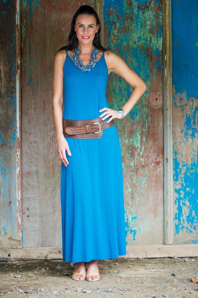 Jersey maxi dress, 'Cool Ocean Blue' summer dress, sleeveless dress