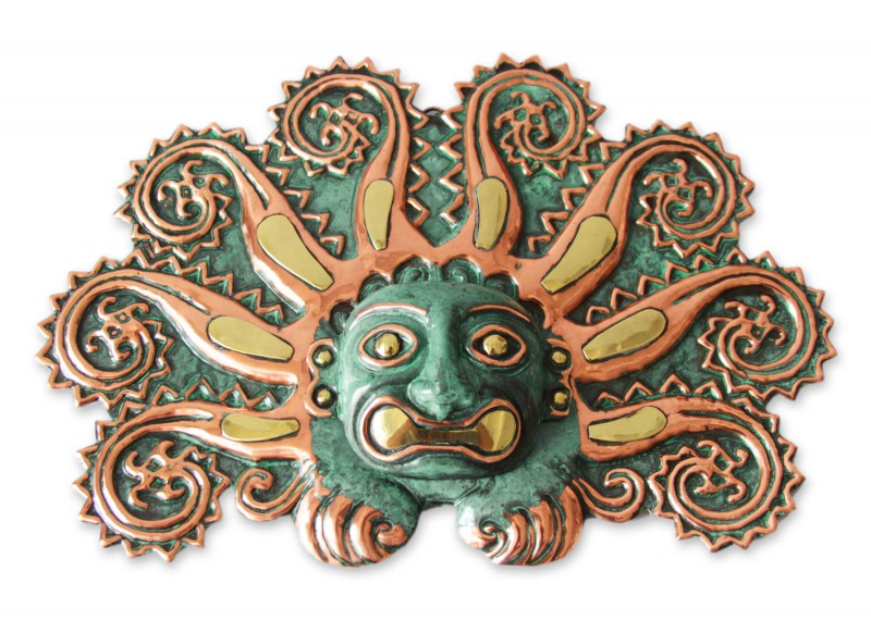 Handmade Bronze and Copper Mask, 'Moche Octopus' Fair Trade Wall Art Original Peruvian