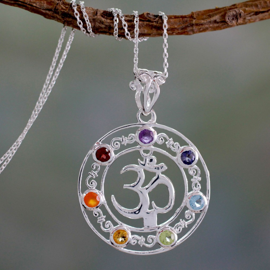Multi-gemstone chakra necklace, 'Om Magnificence' Sterling Silver Pendant Chain