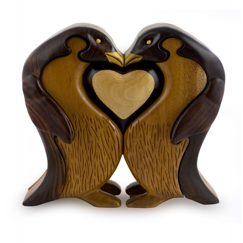 Hand Carved Wood Penguin Sculpture Puzzle Box, 'Penguins in Love'