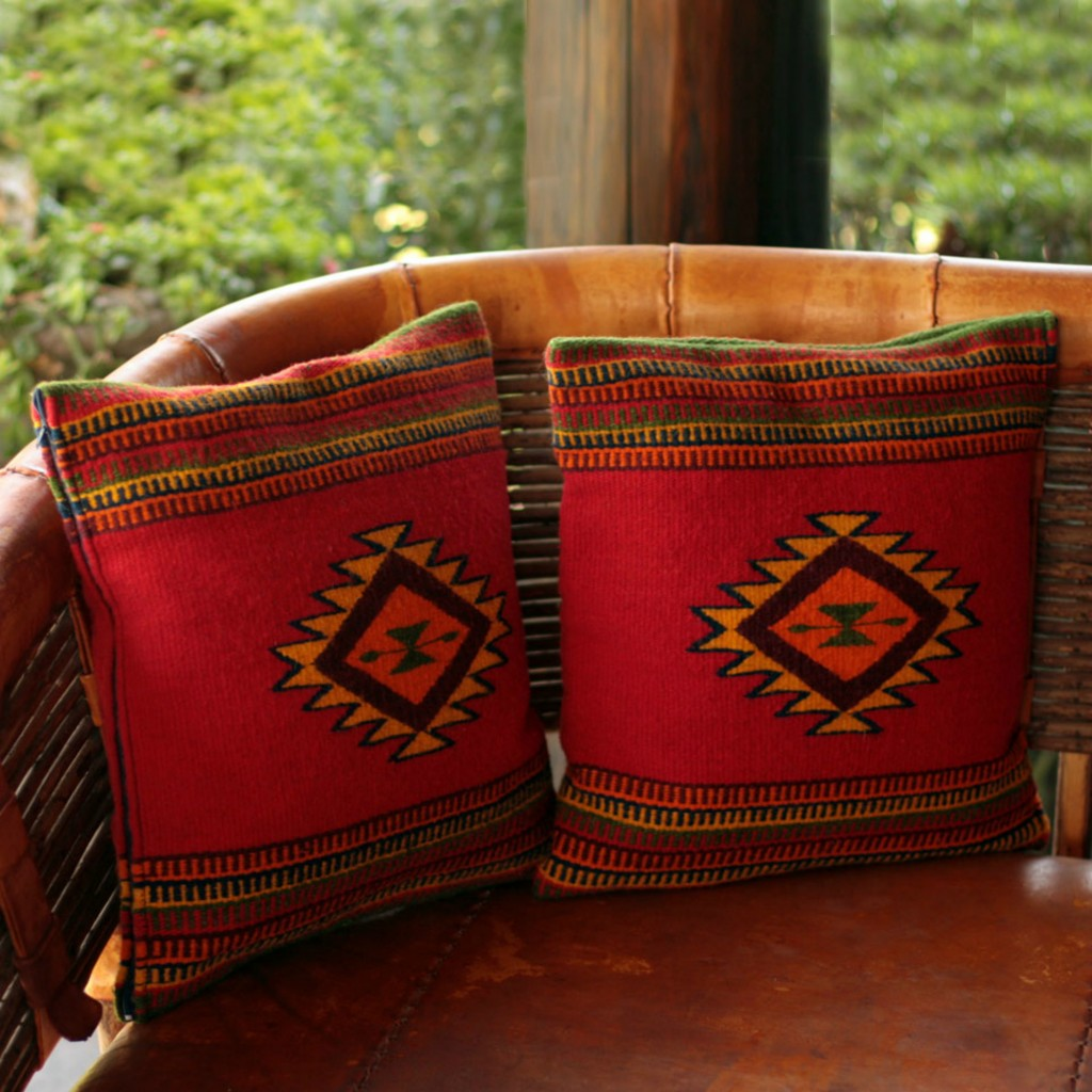 Red Wool Patterned Cushion Covers (Pair), 'Starburst'