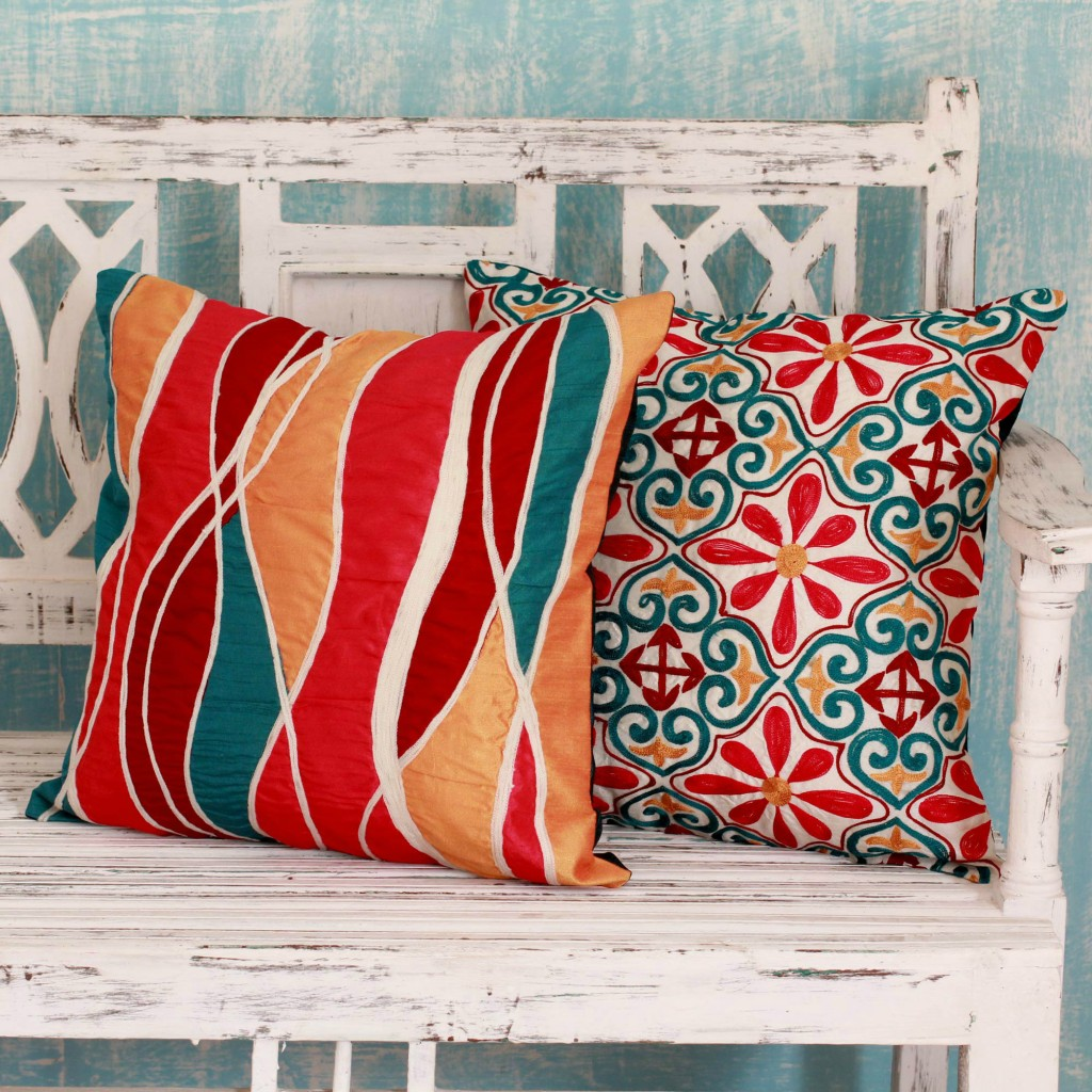 Bright Embroidered Applique Cushion Covers (Pair), 'Happy'