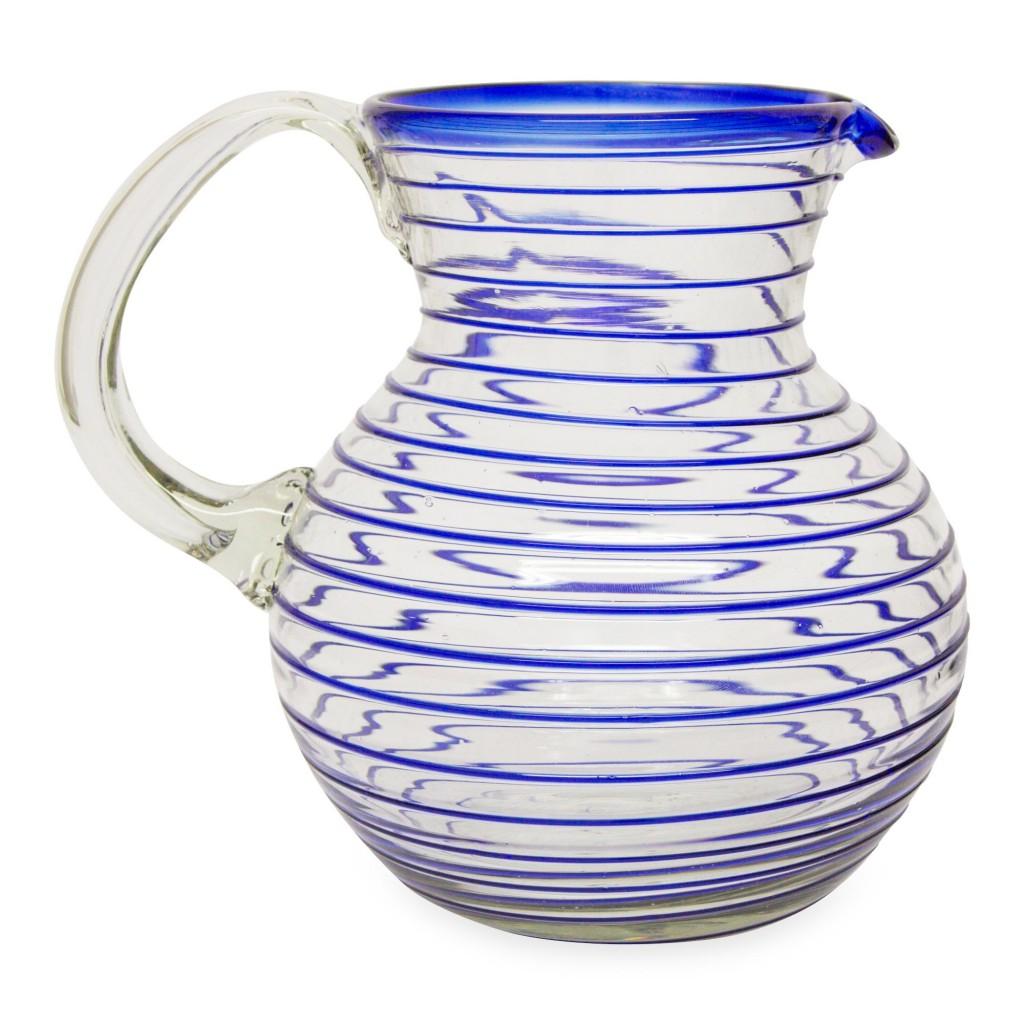 Handblown glass pitcher with blue stripes contemporary art serving pieces home decor NOVICA Fair Trade