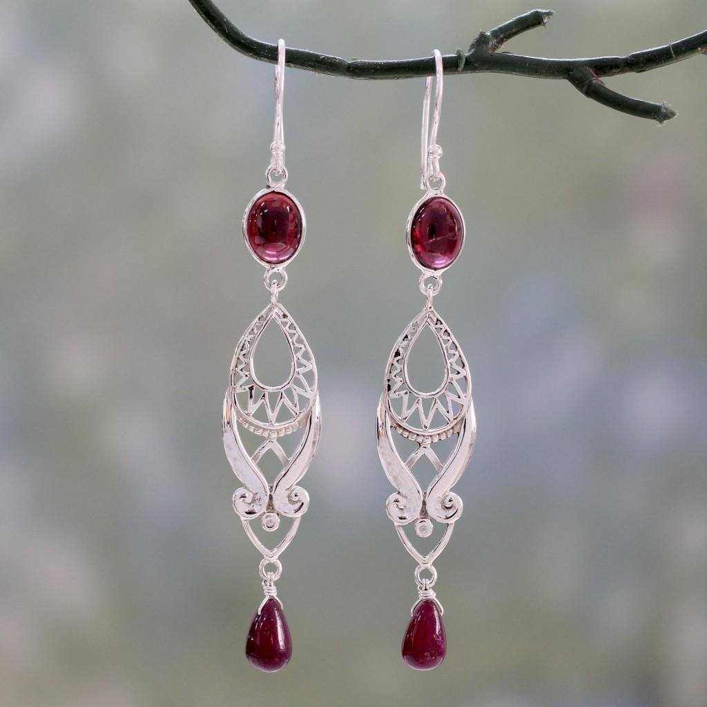 Long Ruby Earrings sterling silver dangle art NOVICA Fair Trade