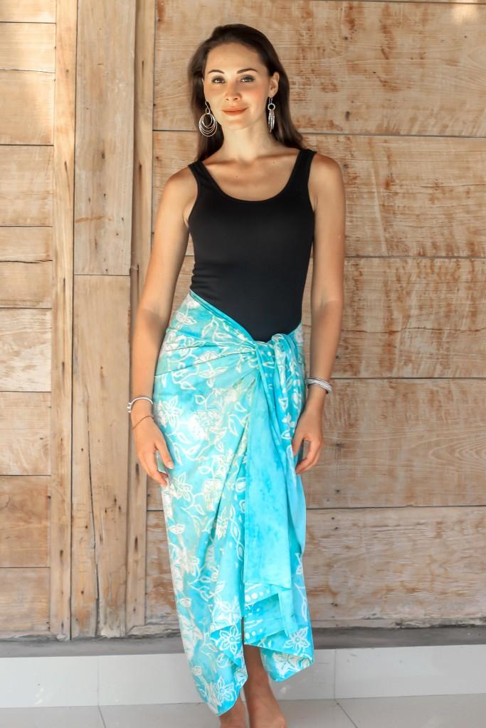 Aqua batik sarong wraparound skirt dress pool cover-up rayon NOVICA hand-stamped white blue fair trade