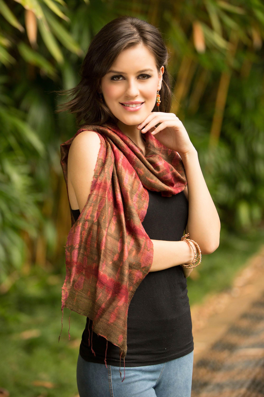 Silk scarf, 'Siam Adventure'
