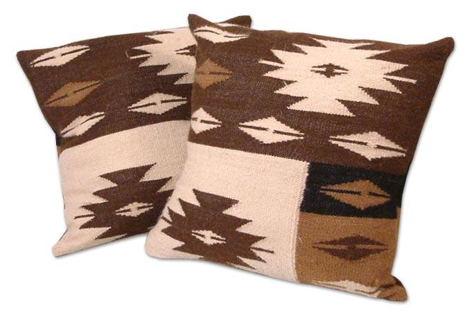 Hand Made Geometric Alpaca Cushion Covers (Pair), 'Starlight on Earth'