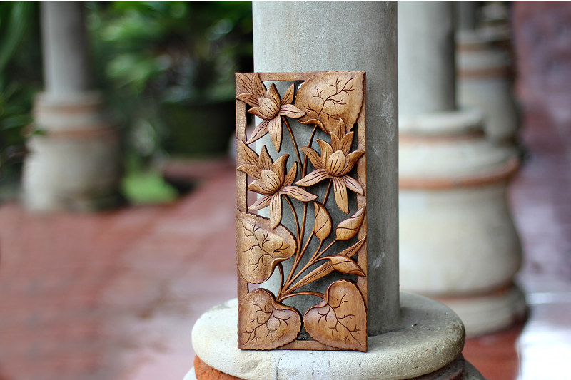 Novica Wall Art, wall decor, wood relief panel, floral sculpture