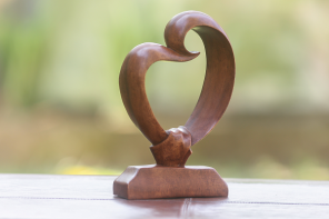 wooden heart sculpture