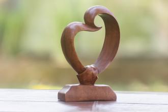 wooden heart sculpture