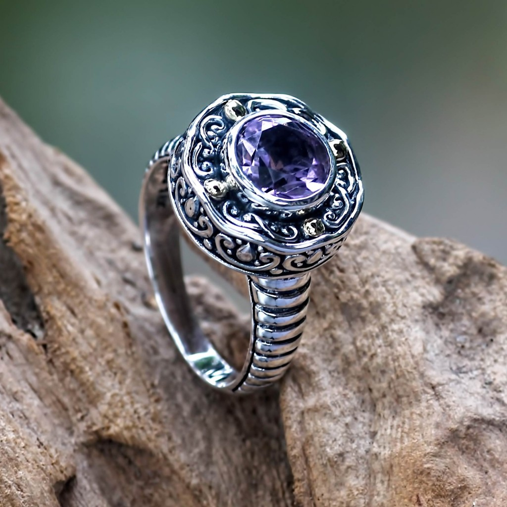 Handmade Balinese Cocktail Ring with Amethyst and 18k Gold, 'Kuta Lilac'
