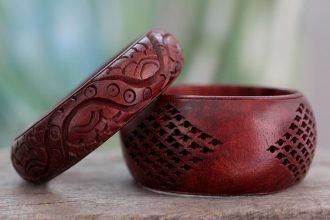 Artisan Crafted Floral Mango Wood Bangle Bracelets (Pair), 'India Romance'