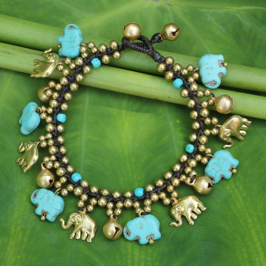 Elephant Charm Bracelet with Brass and Blue Calcite Beads, 'Elephant World'