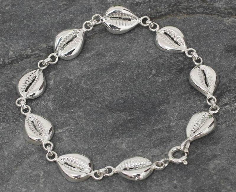 Sterling Silver Link Bracelet from Africa, 'Abundant Cowrie'