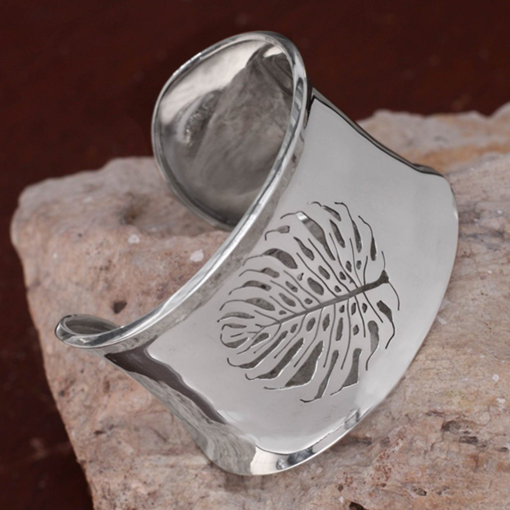 Sterling silver cuff bracelet, 'Leaf Fossil'
