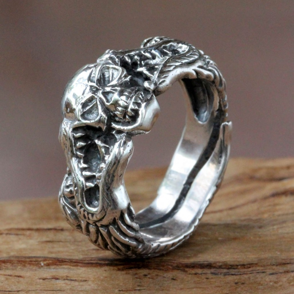 Sterling Silver Skull and Dragon Ring from Bali, 'Fierce Dragon'