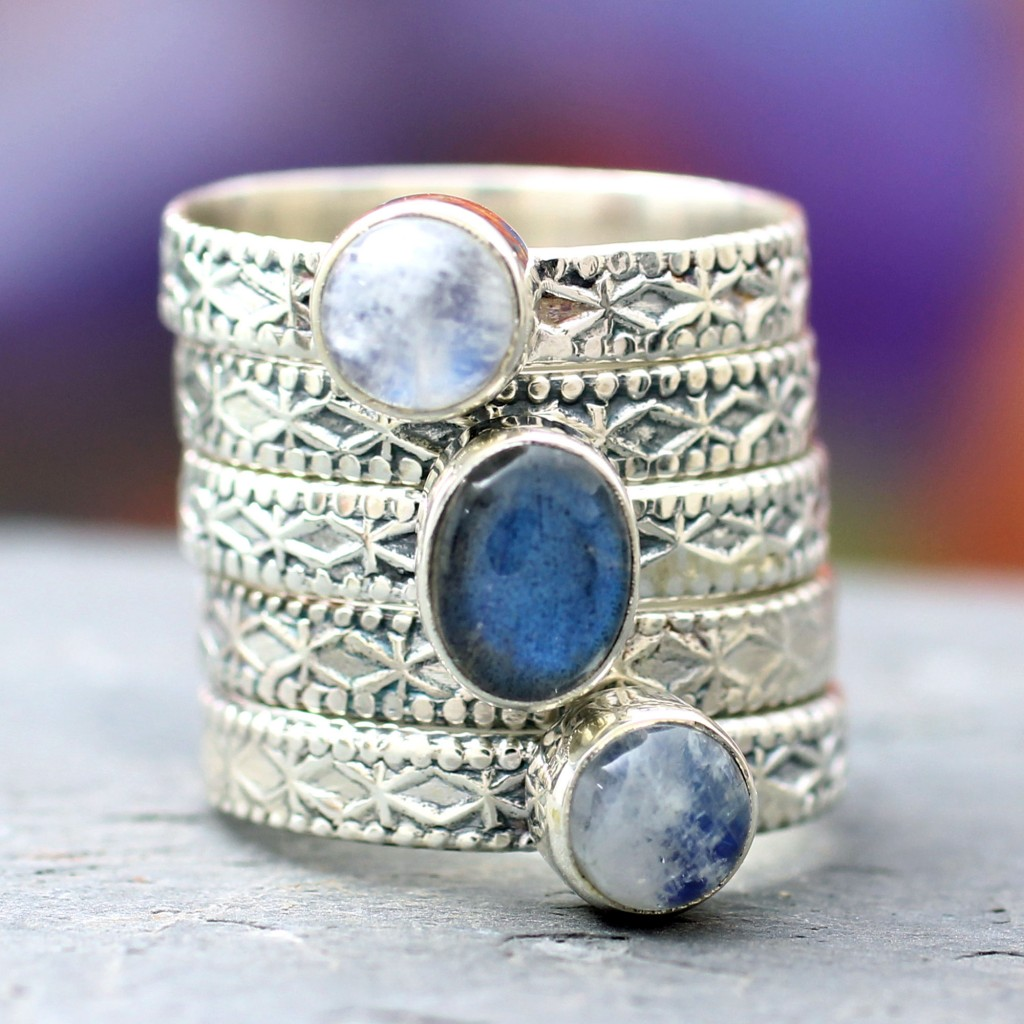 Rainbow Moonstone and Labradorite Stacking Rings (Set of 5), 'Love's Imagination'