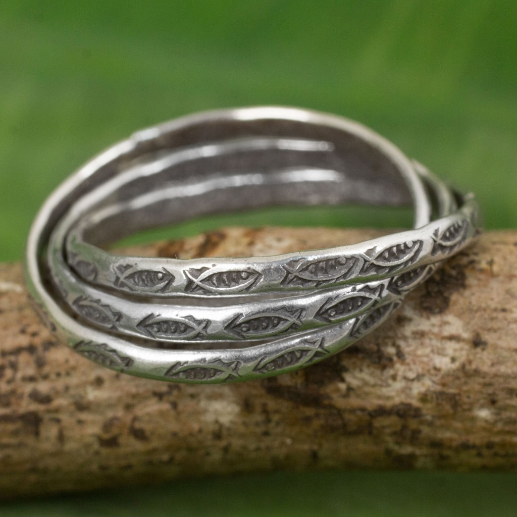 Set of 3 Interlinked Hill Tribe Silver Rings, 'Three Karen Rivers'