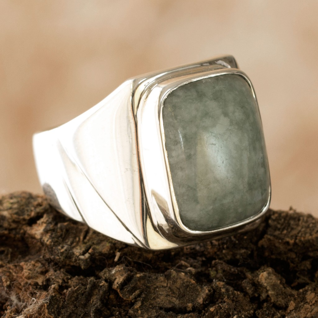 Men's Modern Sterling Silver Jade Ring, 'Jade Fortress'
