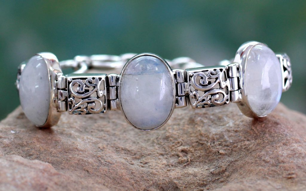 Artisan Crafted Moonstone Sterling Silver Bracelet, 'Floral Legends'
