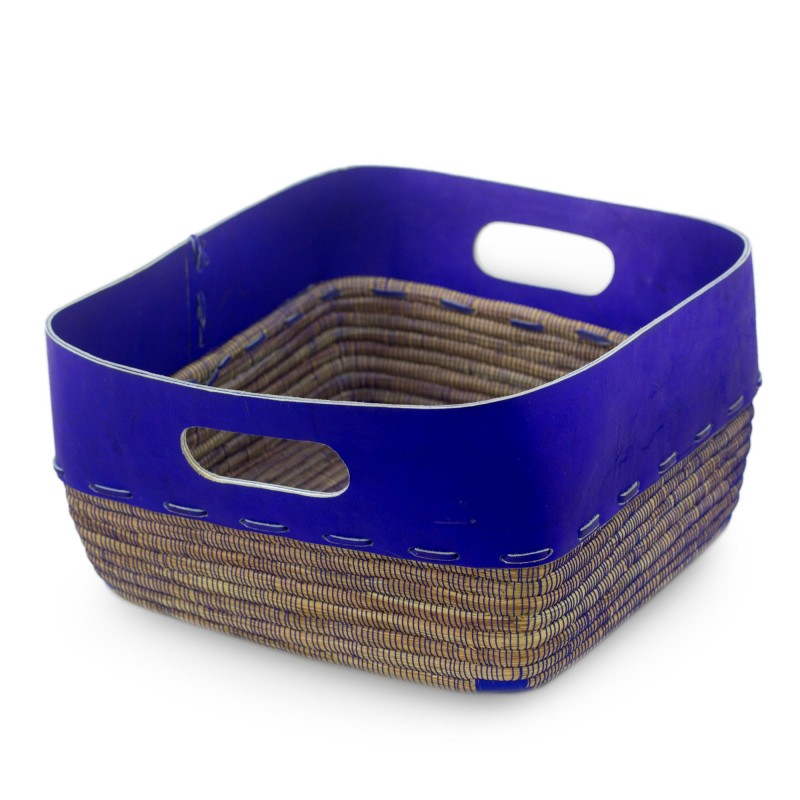 Nicaragua Hand Crafted Pine Needle Basket with Blue Leather