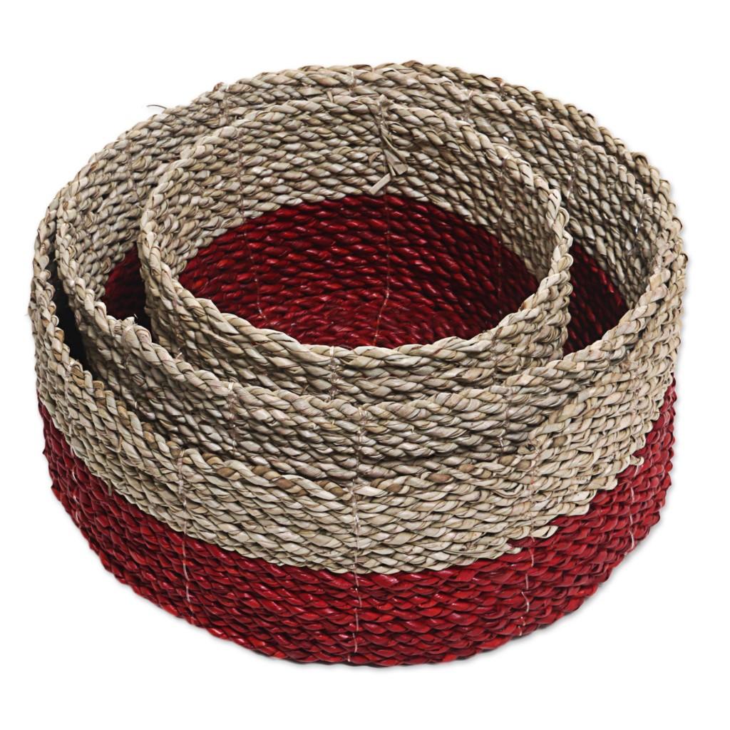 NOVICA Pandanus leaf nesting baskets hand woven art fair trade