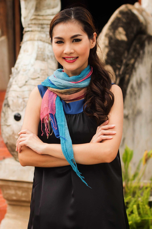 Turquoise Fantasy Artisan Crafted Silk Scarves Pair NOVICA Fair Trade