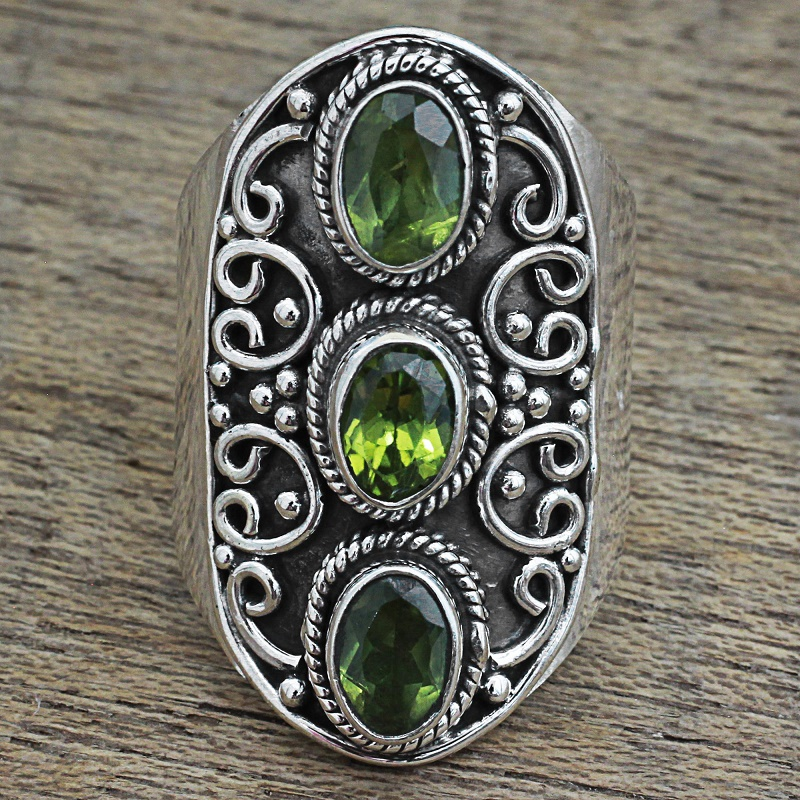 Glorious Beauty Peridot Ring Oxidized Sterling Silver India Statement piece. NOVICA Fair trade