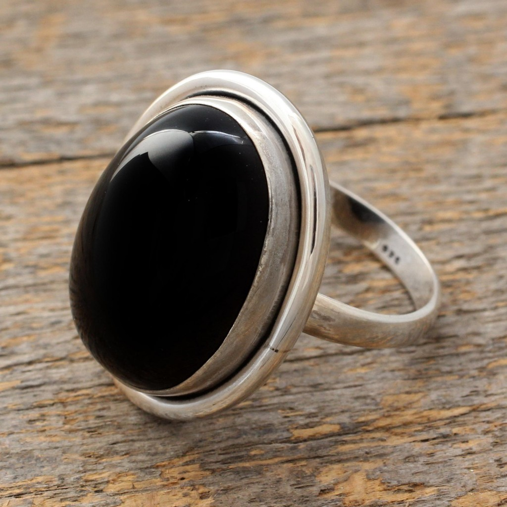 Fair Trade Sterling Silver and Onyx Cocktail Ring, 'Universe' India Art NOVICA