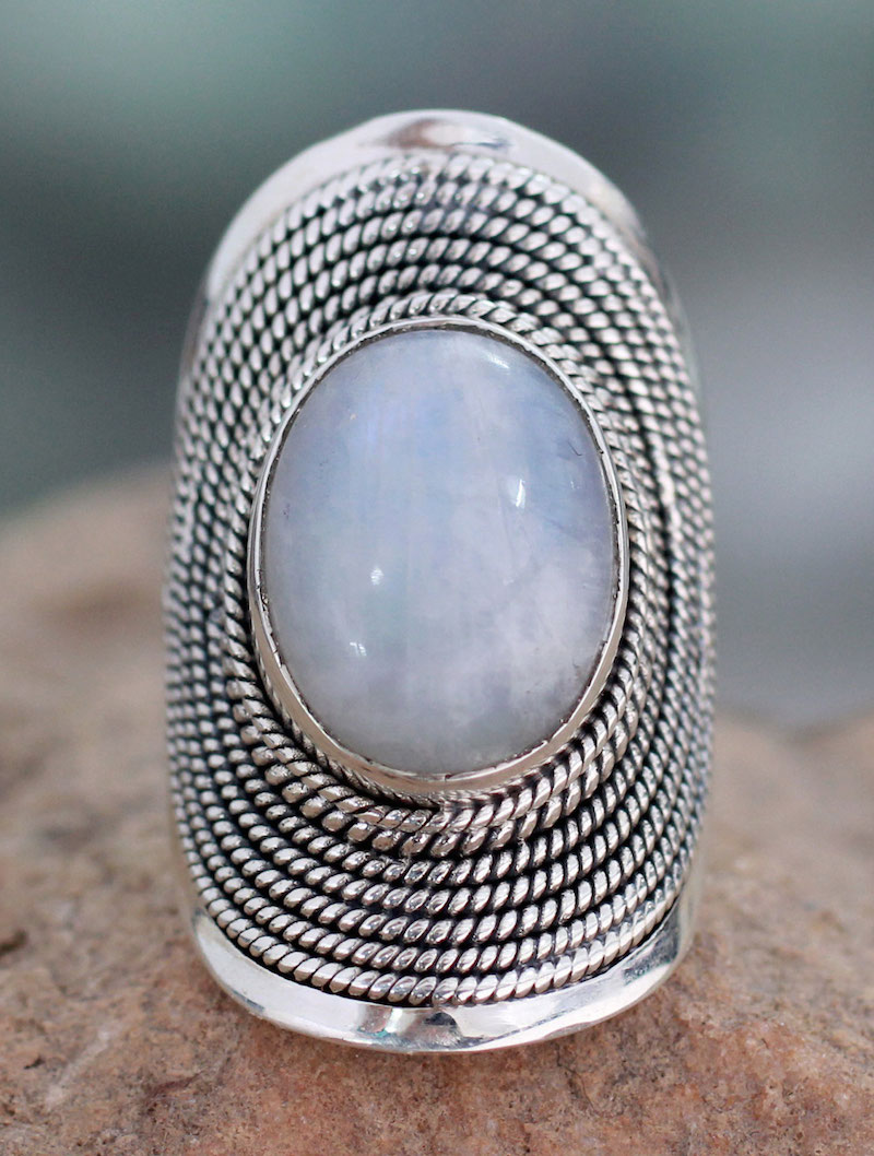Rainbow Moonstone Cocktail Ring Jaipur Mist Sterling Silver Handmade Art India