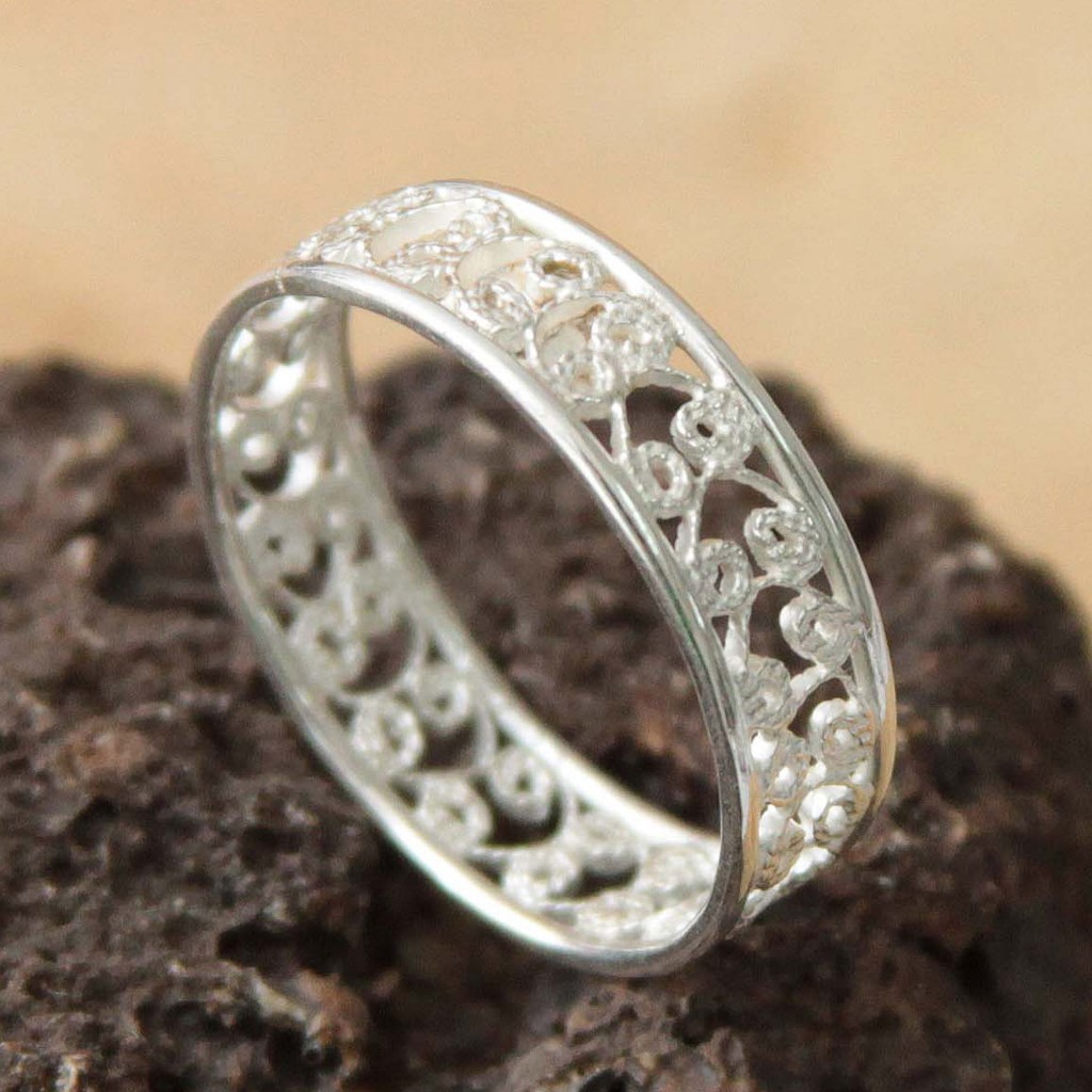 Sterling Silver Filigree Ring from Peru, 'Royal Filigree'
